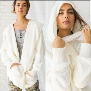 Ivory sherpa hooded  jacket one side